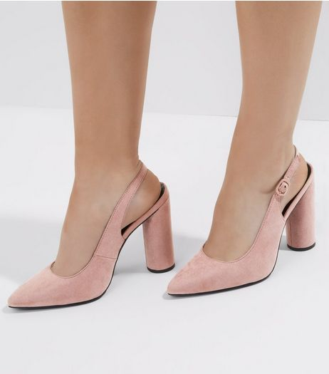 Wide Fit Pink Suedette Sling Back Court Shoes | New Look
