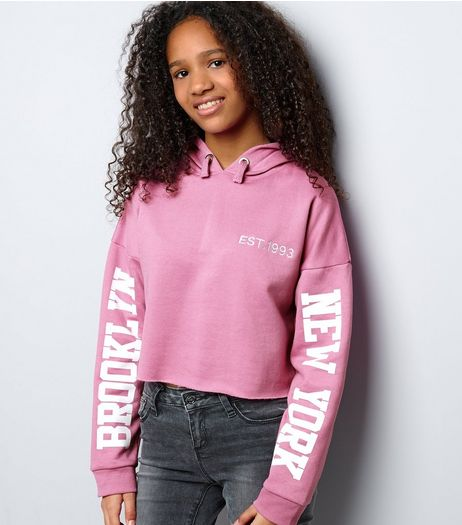 Teens Deep Pink Brooklyn Print Sleeve Cropped Hoodie | New Look