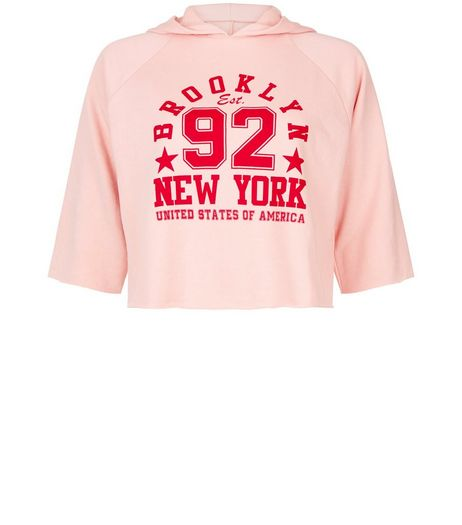 Teens Pink New York Print 3/4 Sleeve Cropped Hoodie  | New Look