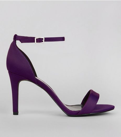 Wide Fit Purple Satin Ankle Strap Heels | New Look