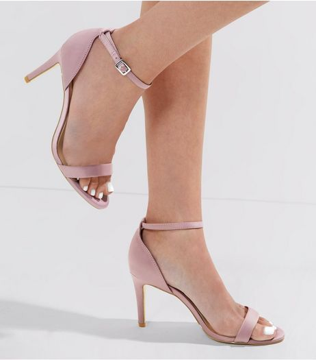 Wide Fit Pink Satin Ankle Strap Heels | New Look