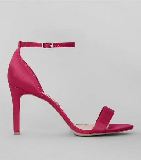 Wide Fit Bright Pink Satin Ankle Strap Heels | New Look