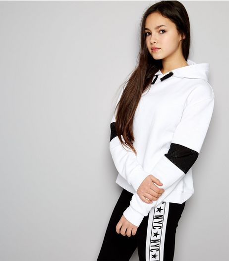 Teens White Mesh Panel Sleeve Hoodie | New Look