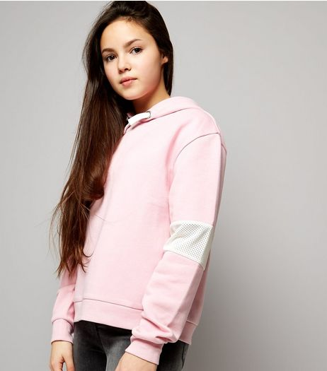 Teens Pink Mesh Panel Sleeve Hoodie | New Look