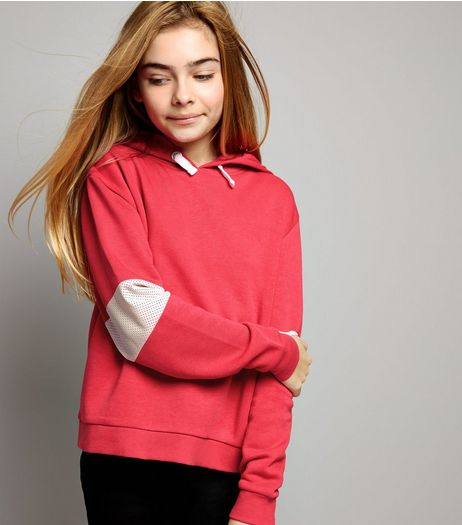 Teens Deep Pink Mesh Panel Sleeve Hoodie | New Look