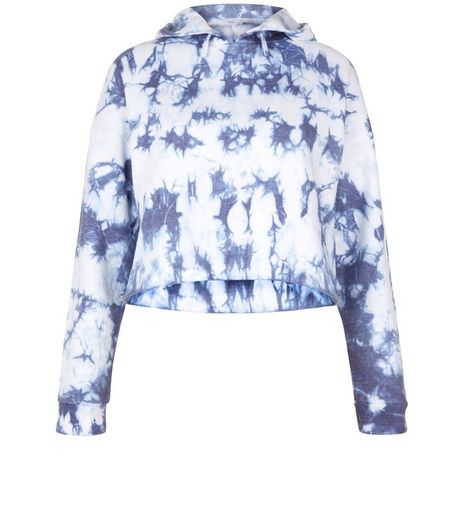 Teens Purple Tie Dye Cropped Hoodie | New Look
