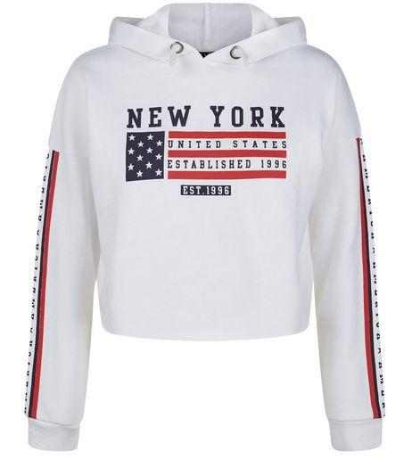 Teens White American Flag Print Cropped Hoodie  | New Look