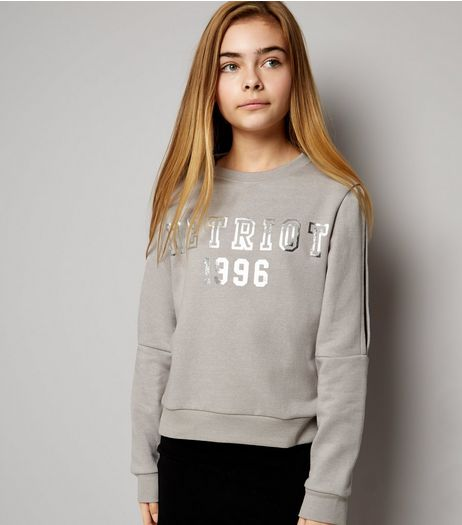Teens Grey Detroit Print Split Sleeve Sweater | New Look