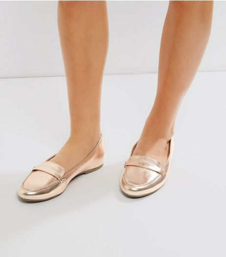 Rose Gold Leather Loafers | New Look