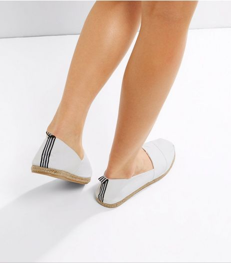 White Contrast Tape Espadrilles | New Look
