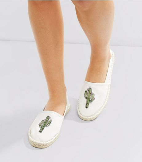 White Cactus Embroidered Espadrilles | New Look