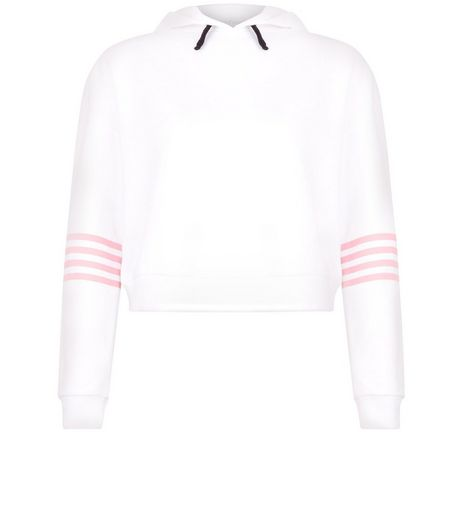 Teens White Stripe Sleeve Cropped Hoodie | New Look