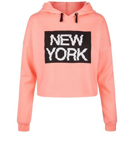 Teens Pink New York Glitch Print Hoodie | New Look