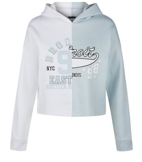 Teens Light Blue Spliced Cropped Hoodie | New Look