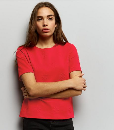 Red Floral Jacquard Texture Button Back Top | New Look