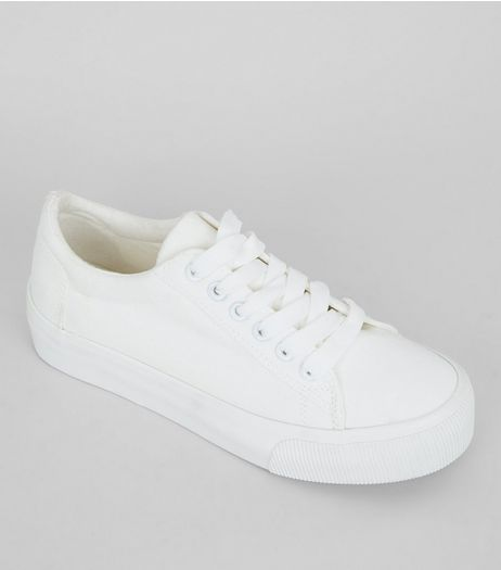 Teens White Lace Up Trainers | New Look