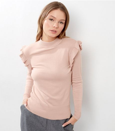Pink Frill Trim Funnel Neck Jumper | New Look
