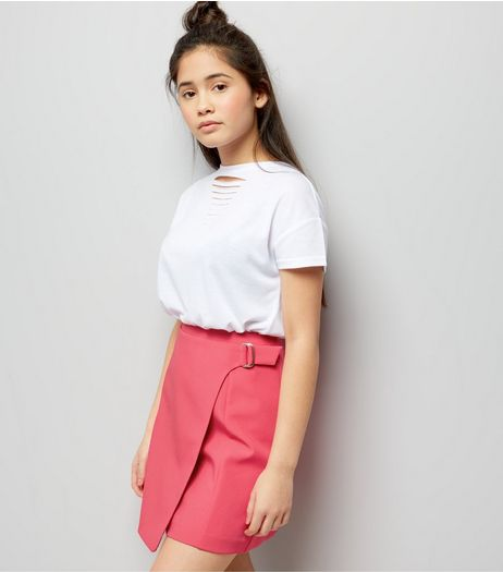 Teens Bright Pink D-Ring Wrap Skirt | New Look