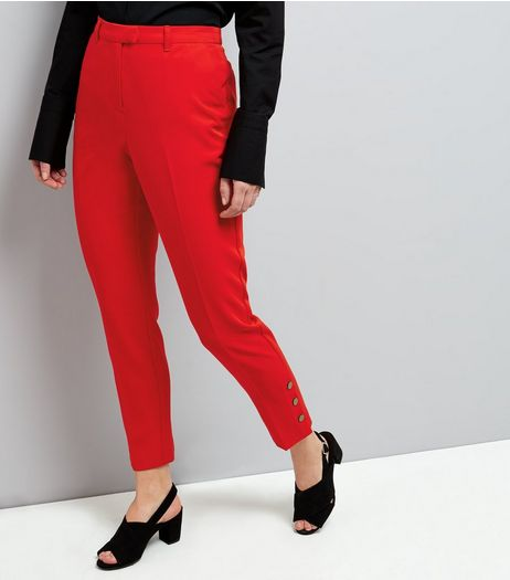Red Popper Hem Trousers | New Look