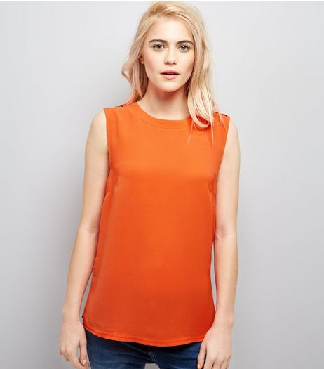 Orange D Ring Trim Woven Vest | New Look
