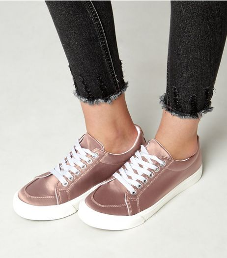 Teens Pink Sateen Lace Up Trainers | New Look