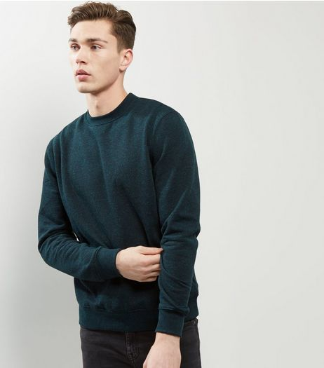 Dark Green Speckled Crew Neck Sweater | New Look