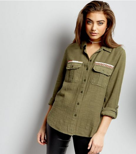 Khaki Bead Trim Shacket  | New Look