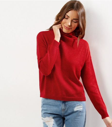 Red Turtle Neck Long Sleeve Cropped Jumper  | New Look