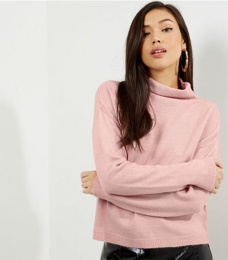 Bright Pink Funnel Neck Cropped Jumper  | New Look