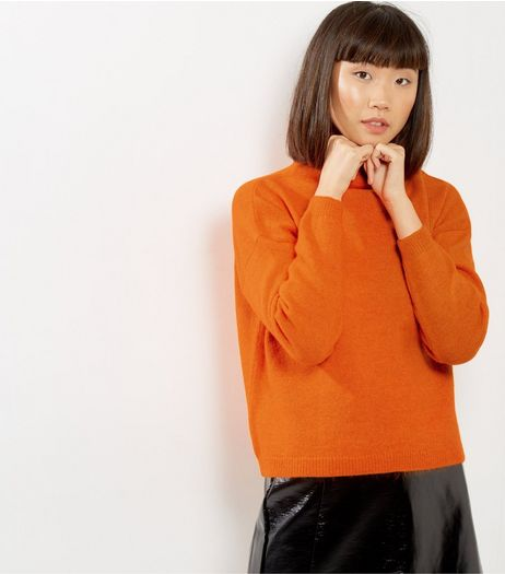 Bright Orange Funnel Neck Cropped Jumper  | New Look