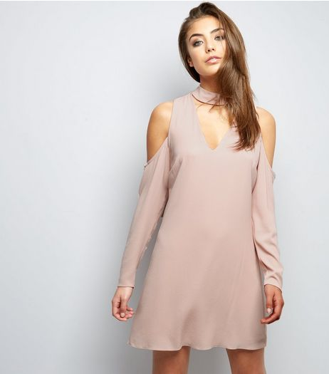 Pink Choker Neck Cold Shoulder Tunic Dress | New Look