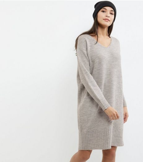 Grey V Neck Jumper Dress | New Look