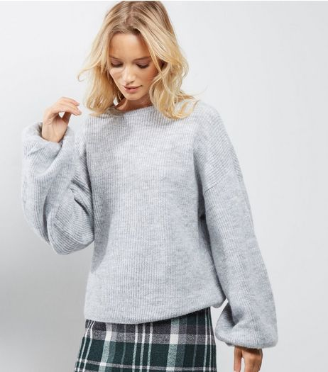 Pale Grey Balloon Sleeve Jumper | New Look