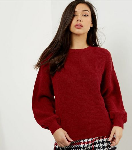 Burgundy Balloon Sleeve Jumper | New Look