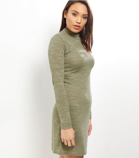 Khaki Stripe Fine Knit Funnel Neck Bodycon Dress | New Look