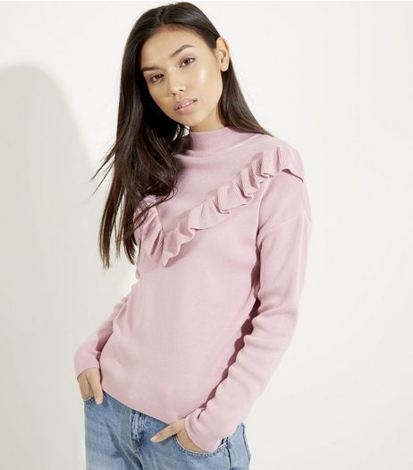 Bright Pink Frill Trim Long Sleeve Jumper | New Look
