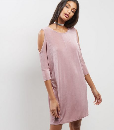 Shell Pink Metallic Cold Shoulder Tunic | New Look