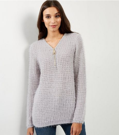 QED Grey Waffle Knit Zip Front Jumper | New Look