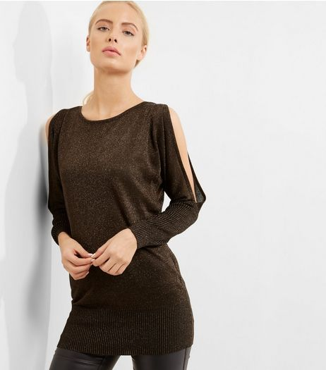 QED Dark Brown Metallic Cut Out Sleeve Jumper | New Look