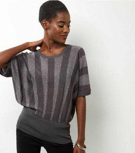 QED Grey Metallic Stripe Jumper | New Look