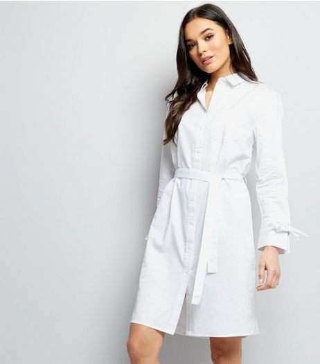 White Tie Waist Shirt Dress | New Look