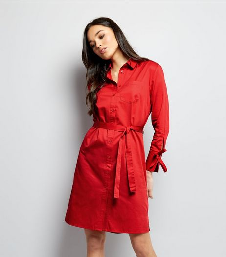 Red Tie Sleeve Tie Waist Shirt Dress  | New Look