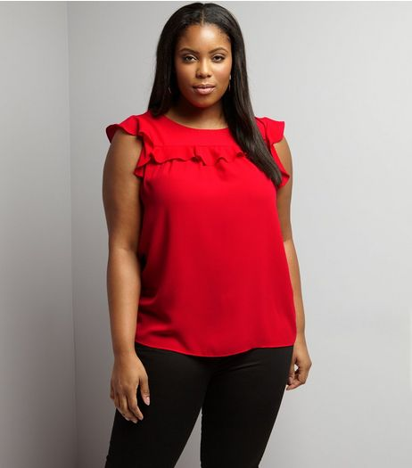 Curves Red Frill Trim Cap Sleeve Top | New Look