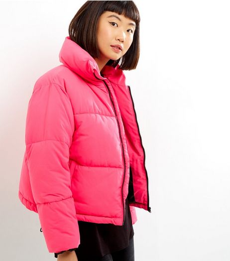 Bright Pink Puffer Jacket  | New Look