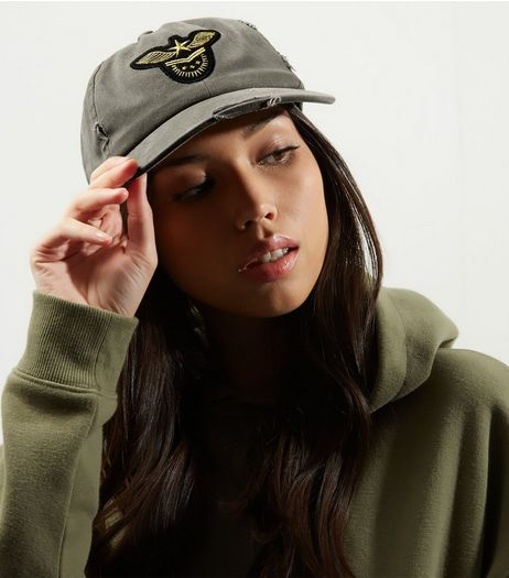 Khaki Military Badge Cap | New Look
