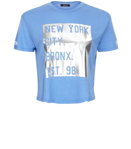 Teens Blue New York 98 Foil Print T-Shirt | New Look