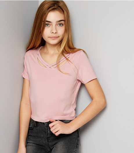 Teens Pink Double Strap Front T-Shirt | New Look