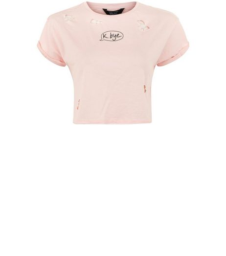 Teens Pink K Bye Ripped Cropped T-shirt | New Look