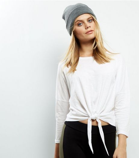 White Tie Front Long Sleeve Top | New Look
