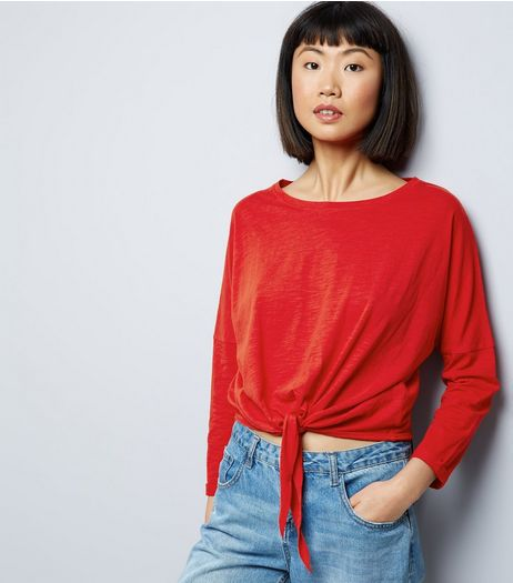 Red Tie Front Long Sleeve Top | New Look